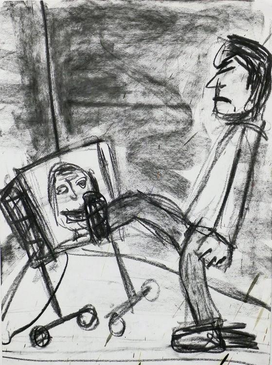Man kicking the TV